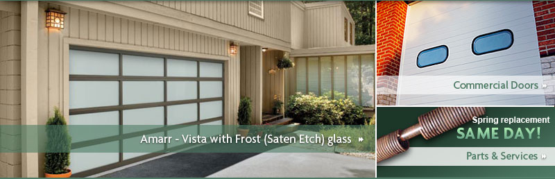Amarr Vista Collection Textured Bronze Aluminum Frame With Frost Saten Etch Gl Residential Garage Doors